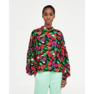Zara High Neck Balloon Sleeve Floral Blouse